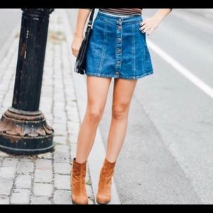 Brandy Melville Denim Snap Skirt